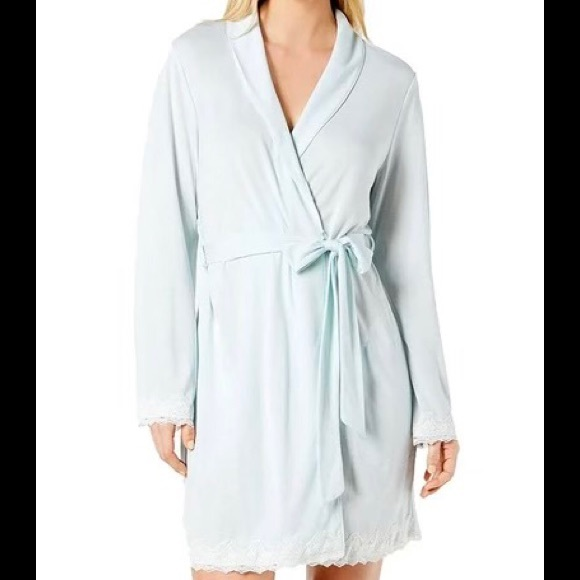 Charter Club Lace Trimmed Soft Knit Wrap Robe